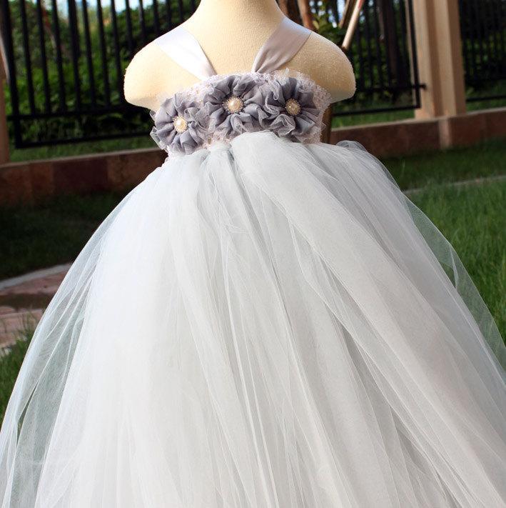 Mariage - Flower Girl Dress Grey tutu dress baby dress toddler birthday dress wedding dress newborn 0-7t