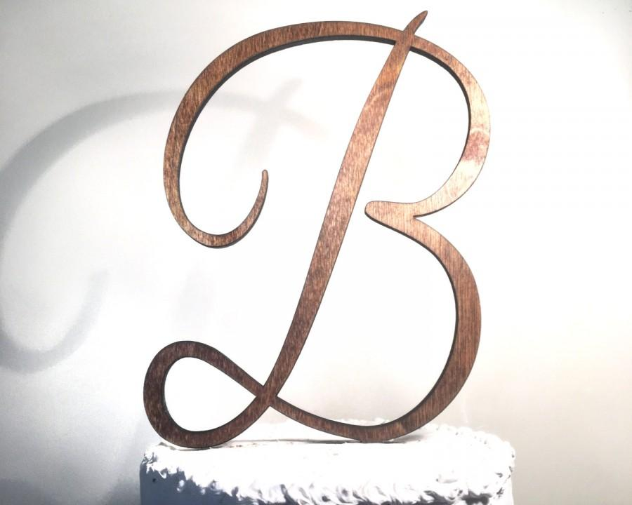 Mariage - Wooden Wedding Cake Topper: Letter B, Monogram Cake Topper, Rustic Cake Topper, Handmade Cake Topper
