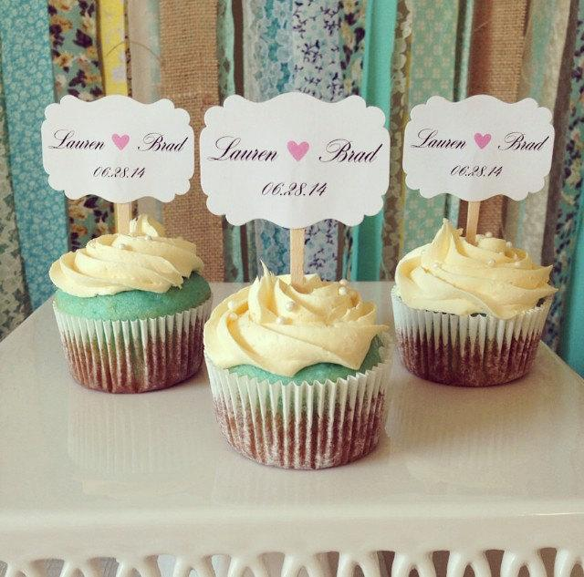 Mariage - Wedding cupcake toppers, Personalized wedding, Save the dates