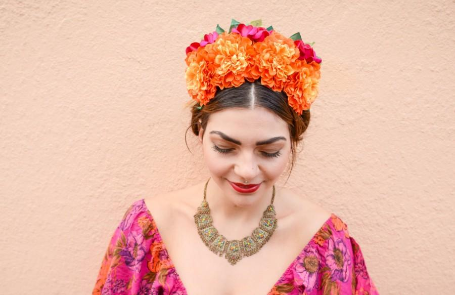 Admirable Day Of The Dead Flower Crown Frida Kahlo Headpiece Mexican Short Hairstyles Gunalazisus