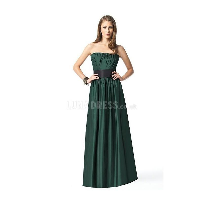 Mariage - Vintage Natural Waist Floor Length Satin Strapless Maid of Honor Dresses - Compelling Wedding Dresses
