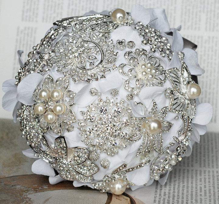 Mariage - Vintage Bridal Brooch Bouquet - Pearl Rhinestone Crystal - Silver White Grey - One Day RUSH ORDER Available - BB020LX