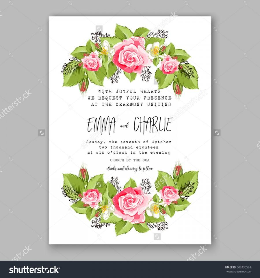 Wedding - Romantic pink rose bridal bouquet Wedding invitation template design