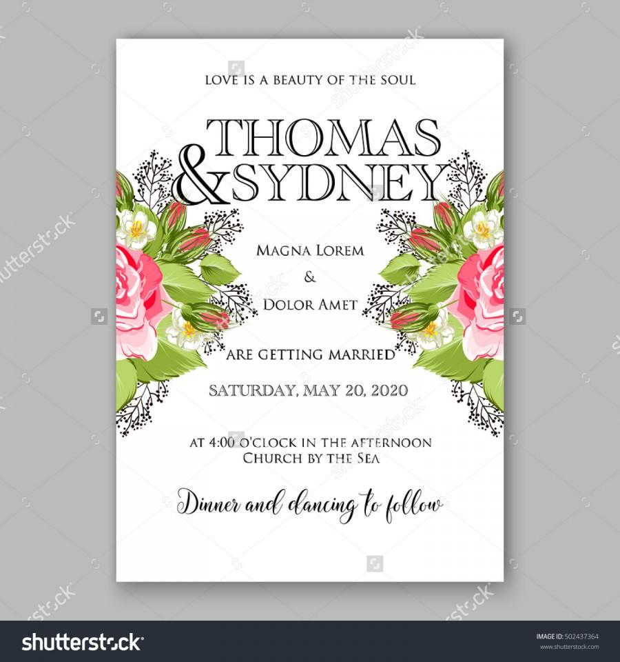 Свадьба - Romantic pink rose bridal bouquet Wedding invitation template design