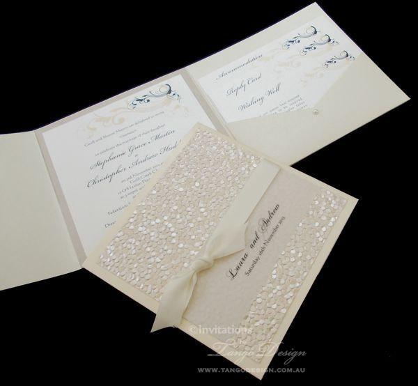 Wedding - Vintage Pocket Fold Wedding Invitation suite. Handmade invitation in pocketfold SAMPLE Pocket Folder invitation set with Cards & belly band
