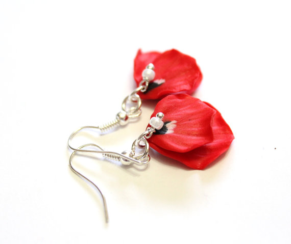 Petal Poppy Red Drop Earrings Flower Jewelry Wedding Summer Bridesmaid