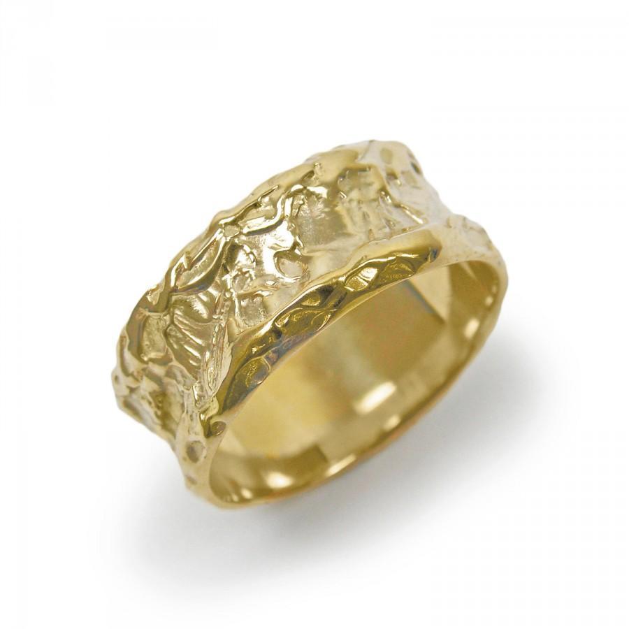 Mariage - Raw wedding ring. Wide wedding band. Gold wedding ring. Special wedding ring. Unique wedding ring. 14k yellow gold  (gr-9263-1223)