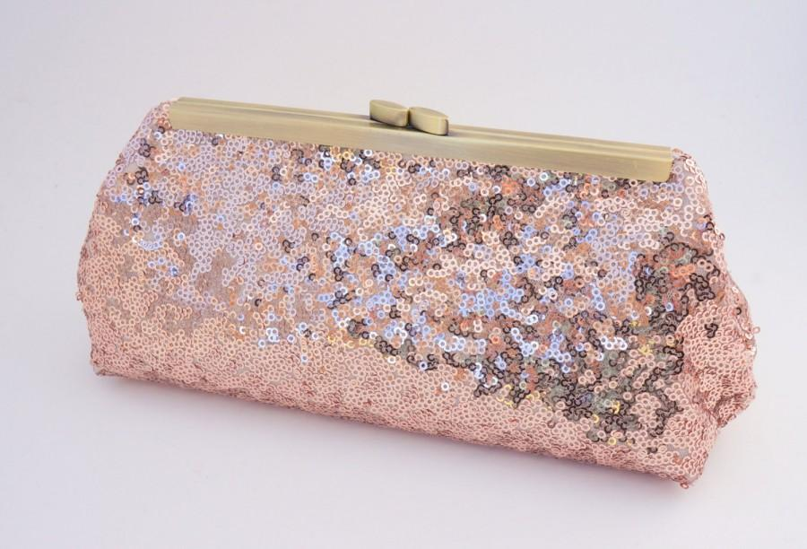 Rose Gold Shimmer Sequin Clutch Purse - Bridesmaid Bridal Evening Wedding  Formal Prom Hand Bag- Includes Shoulder Chain - Ready to Ship b10b6506e32fd