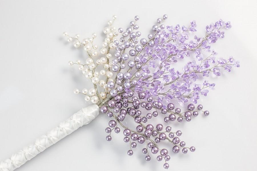 Mariage - Bridal Bouquet - Darielle Bridal Bouquet in Lavender Purple - Wedding Bouquet - Pearl Bouquet - Fabulous Brooch Bouquet Alternative