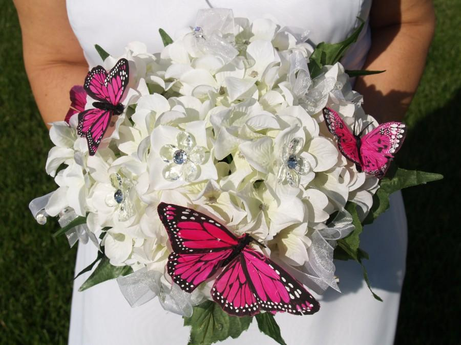 Свадьба - Brides GARDEN Wedding Bouquet white beautiful hydrangeas and hot pink butterflies, embellished handmade, Spring Summer Outdoor, pop of color