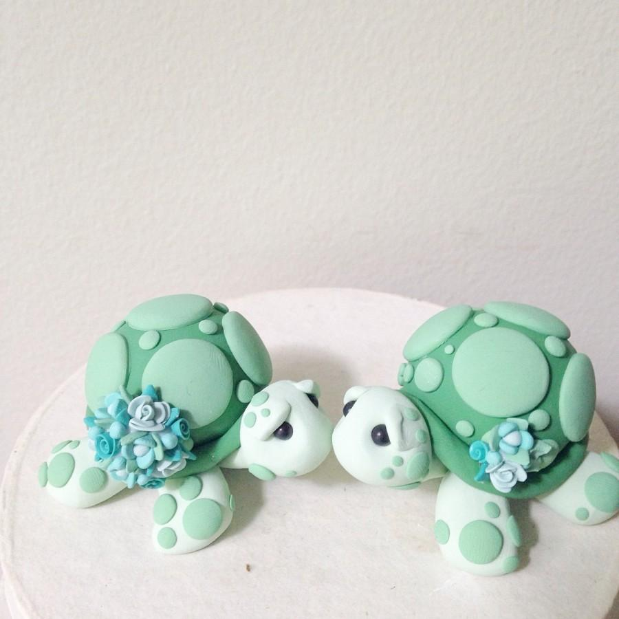 Mariage - Love Turtles wedding cake topper handmade