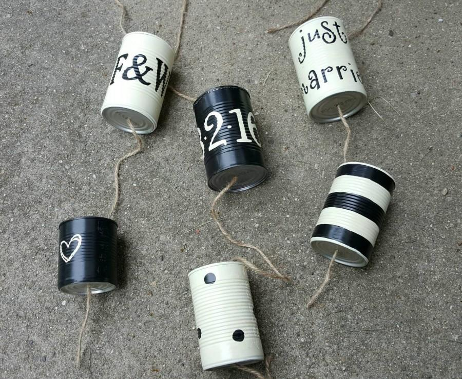 Mariage - 6 Wedding Car Cans - Just Married Tin Cans (ANY COLOR) - Wedding Traditions - Up-cycled Wedding - Repurposed Cans
