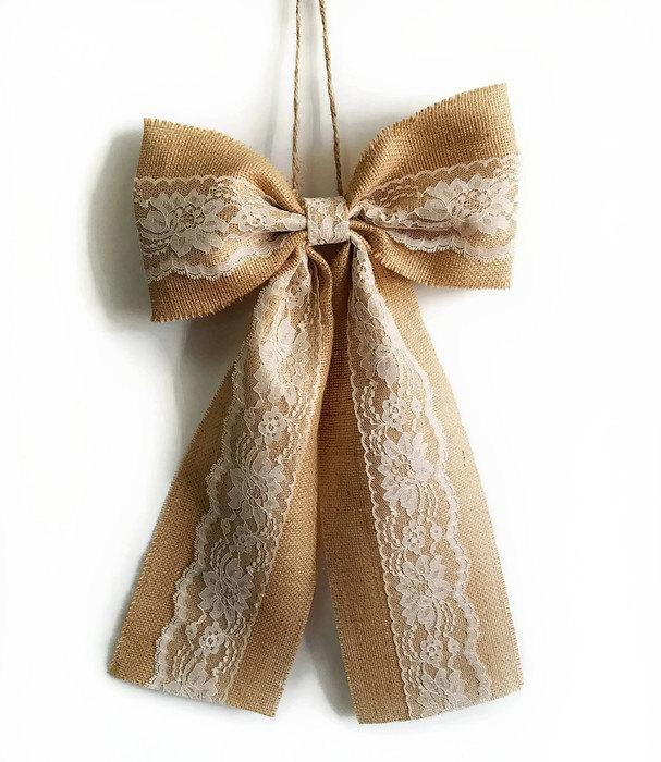 Mariage - Pew Bows, Burlap and Lace Bow, Rustic Wedding Decor, Burlap and Lace Pew Bows, Burlap and Lace Wedding Bows, Bridal Shower Decor, Home Decor