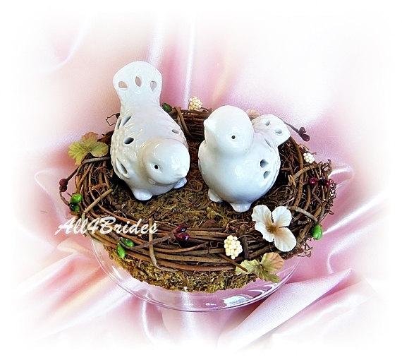 Mariage - Bird nest love bird wedding cake topper, rustic, garden, woodland wedding cake topper