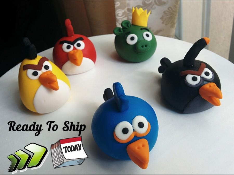 "Mariage - Angry Birds Fondant Cake Topper (5 Piece Set) +6 wood boards. Ready to ship in 3-5 business days. ""We do custom orders"""