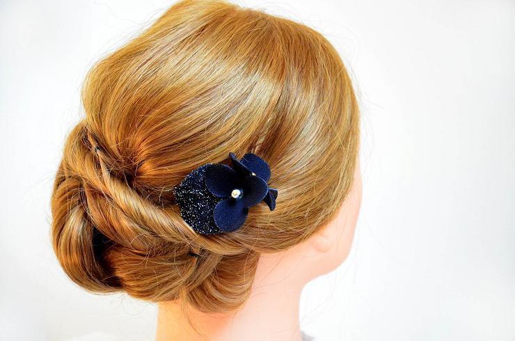 Black Hair Clip Bridesmaids Navy Blue Bridal Headpiece Fascinator Pink Flower Wedding