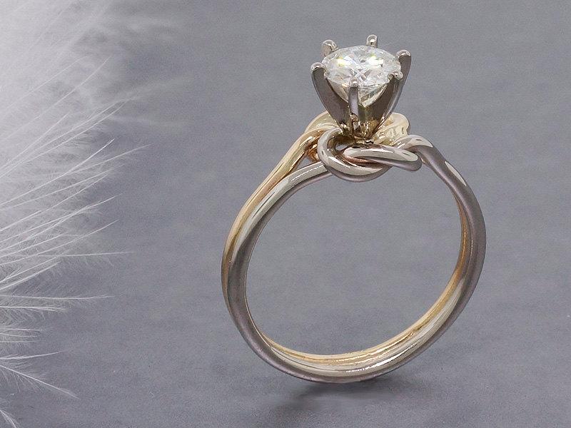 زفاف - Forever Brilliant Moissanite engagement ring, double love knot ring, solid 14k gold ring