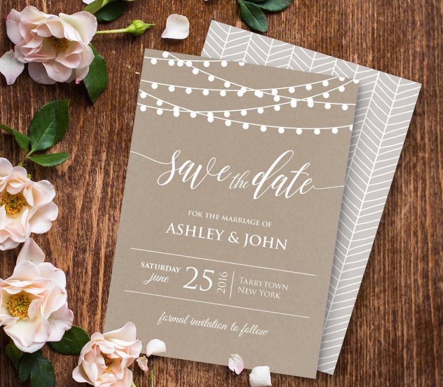Wedding - Wedding Save the Date Template, Instant Download, Printable Save the Date, Rustic Kraft Wedding, Editable PDF Template, Digital #014-101SD