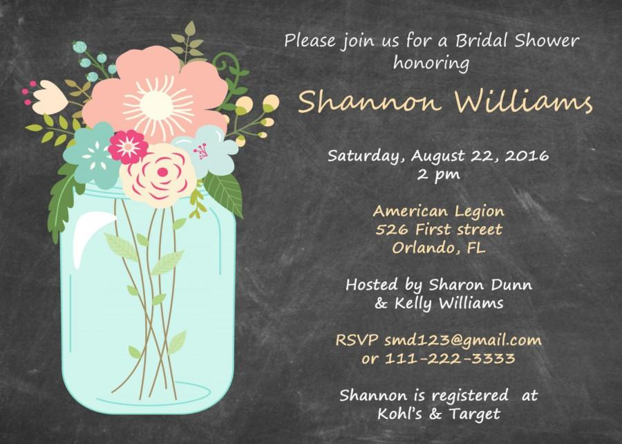 Mason Jar Wedding Invitation Mason Jar Invitations Wedding – Couples Shower Wedding Invitations