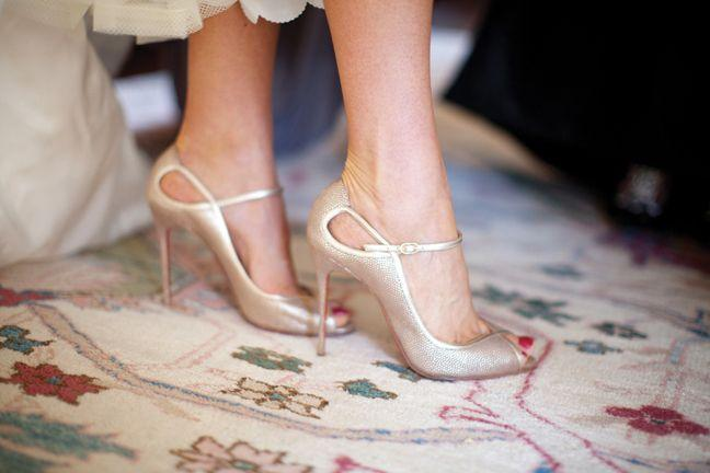 Wedding - Gold Louboutin Peep Toe Shoes