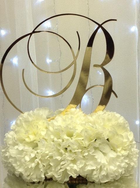 "Свадьба - 5"" Monogram Gold  Mirror Cake Topper (Brock Font)"