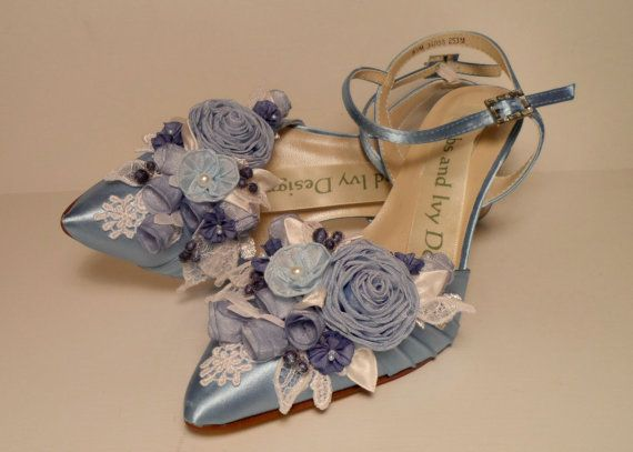 Mariage - Wedgewood Blue Wedding Shoes Garden Wedding Shoes By AJuneBride