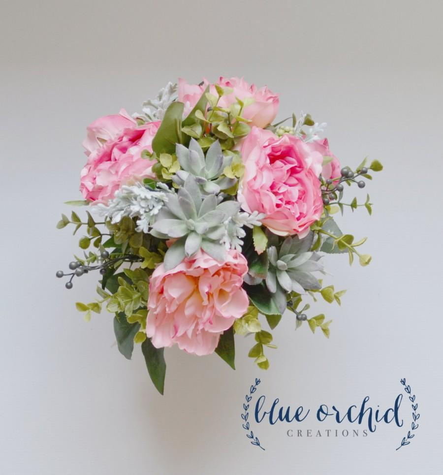 Mariage - Pink Boho Bouquet with Peonies Cabbage Roses Succulents Eucalyptus Dusty Miller and Berries