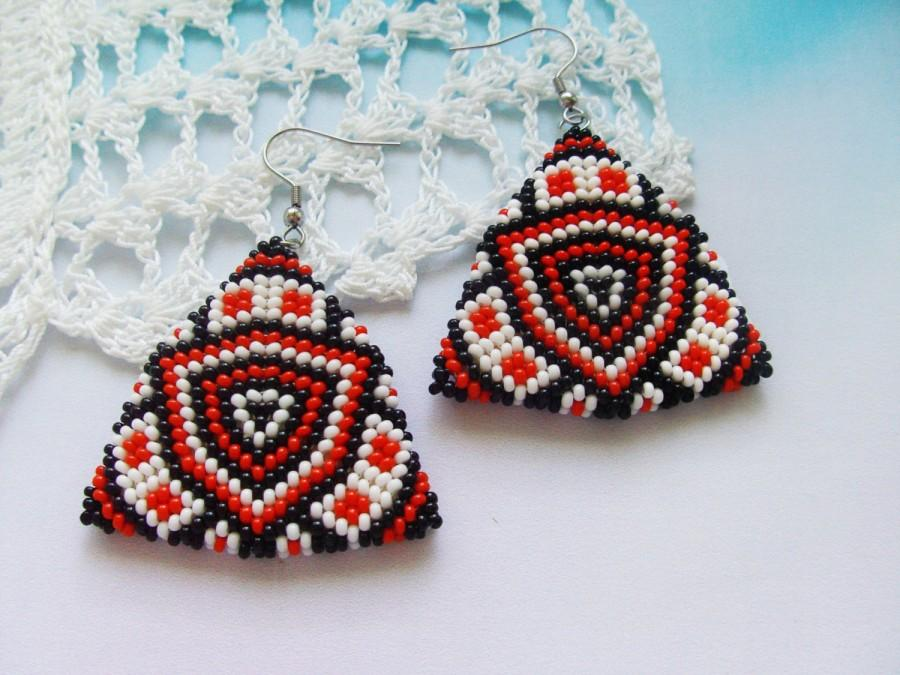 Red Earrings Ethnic Native Dangle Triangle Boho Beaded Seed Bead Jewelry Gift For Her
