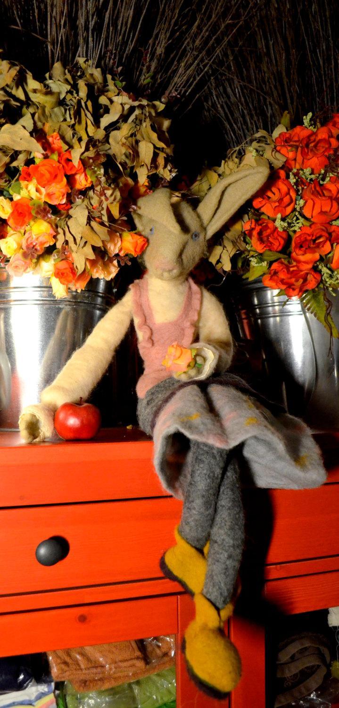 Wedding - Donkey lady, Art Dolls, Interior doll, needle felted.READY TO SHIP felt doll