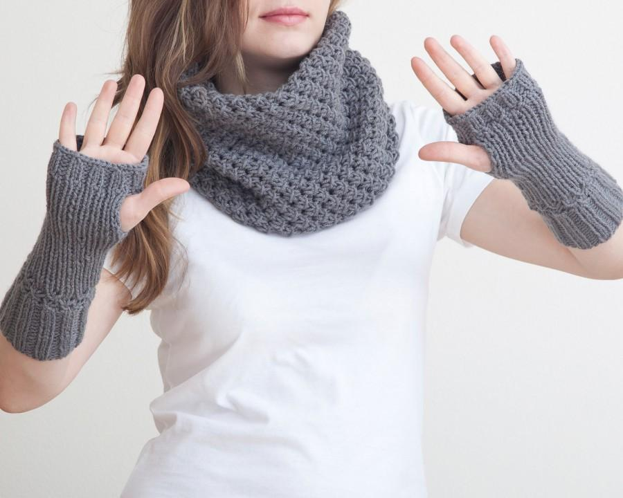 Fingerless Gloves And Chunky Scarf Gray Collar Scarf Knit Scarf