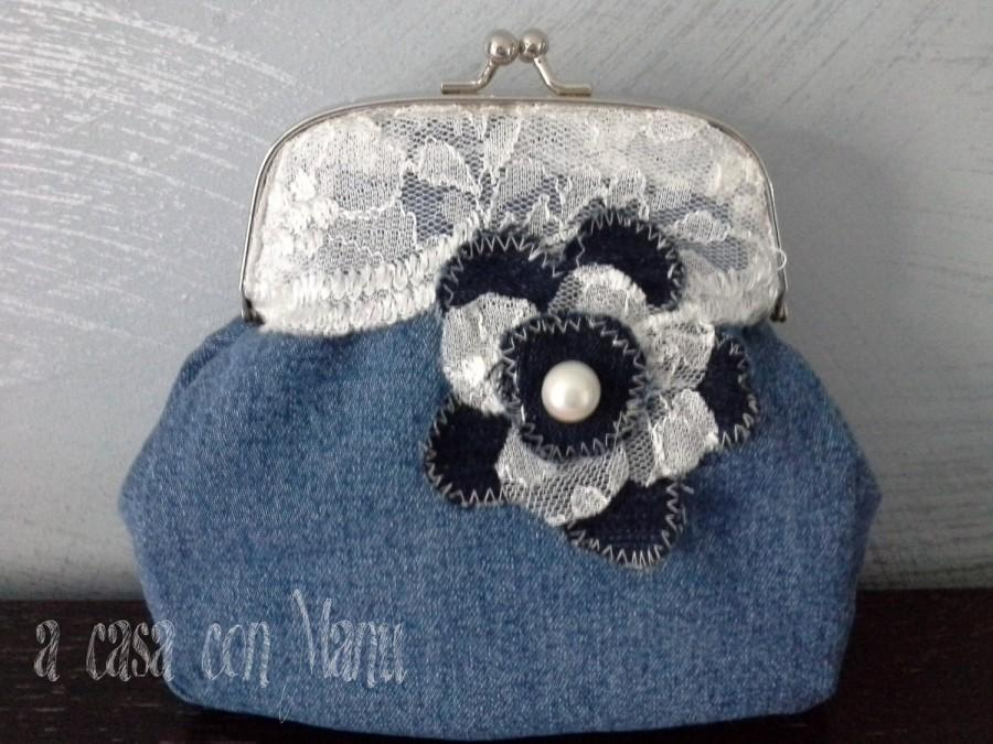 زفاف - Romantica pochette in jeans -  Romantic clutches in jeans - clutches in jeans - handmade - made in Italy