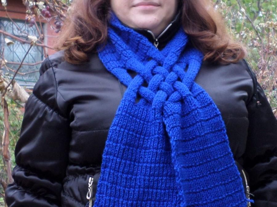 Blue Cowl Scarf Winter Scarf Knitted Scarf Fashion Knit Scarf Circle