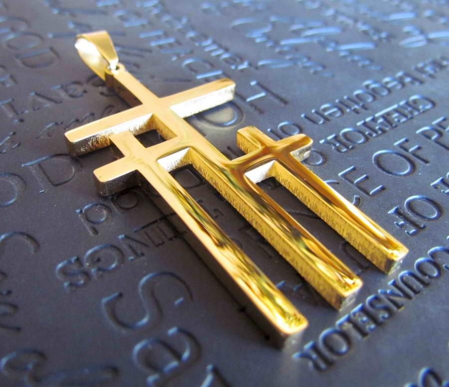 Large Gold Calvary 3 Cross Necklace Pendant Stainless Steel Chain
