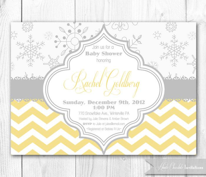 snowflake baby shower invitation in yellow gray diy printable