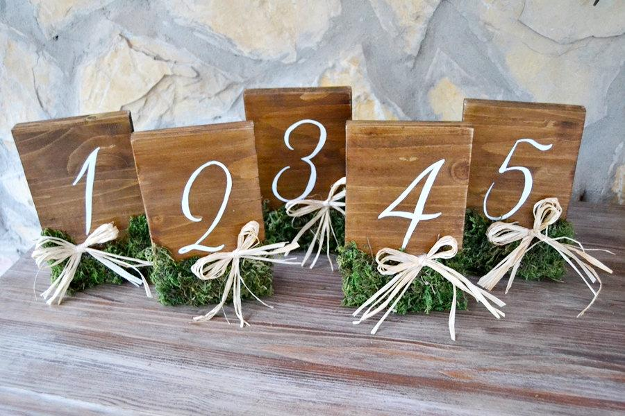Rustic Wedding Table Numbers Moss Raffia Wooden Hand Painted Number Country