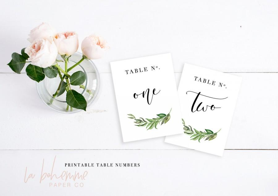 Mariage - Printable Table Numbers / Wedding Table Numbers - Table Numbers 1-15  - Rustic Greenery