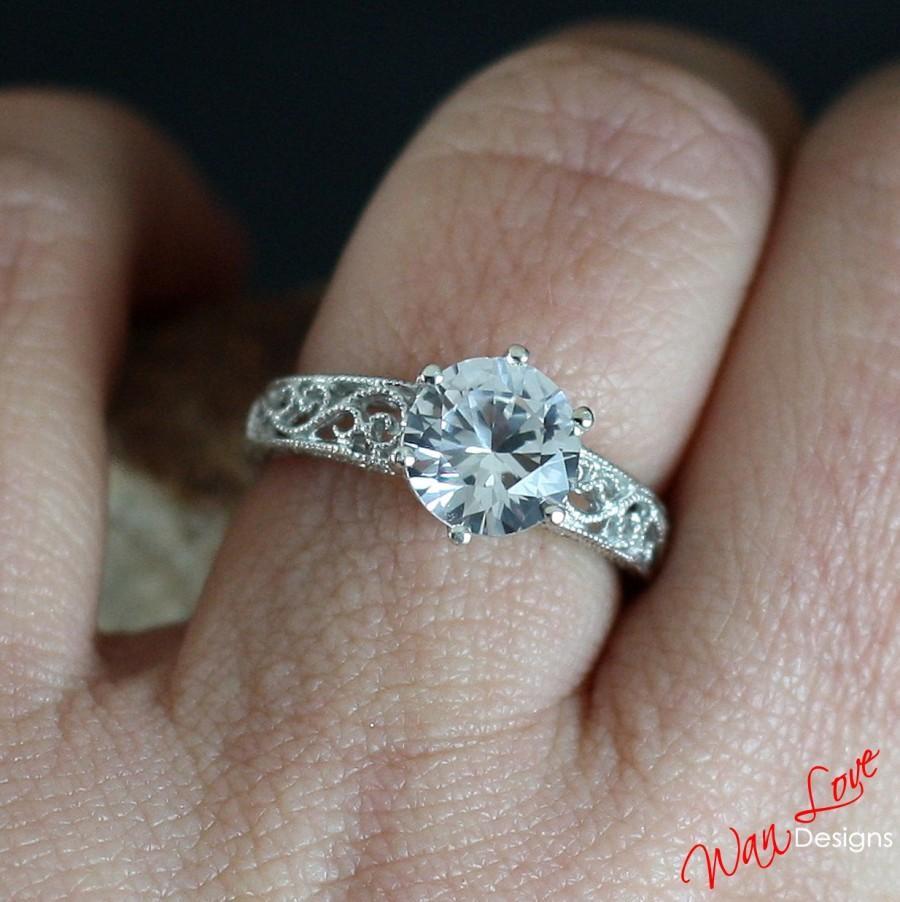 Mariage - White Sapphire Engagement Ring Filigree Milgrain Solitaire Round cut 2ct 8mm 14k 18k White Yellow Rose Gold-Custom made-Wedding-Anniversary