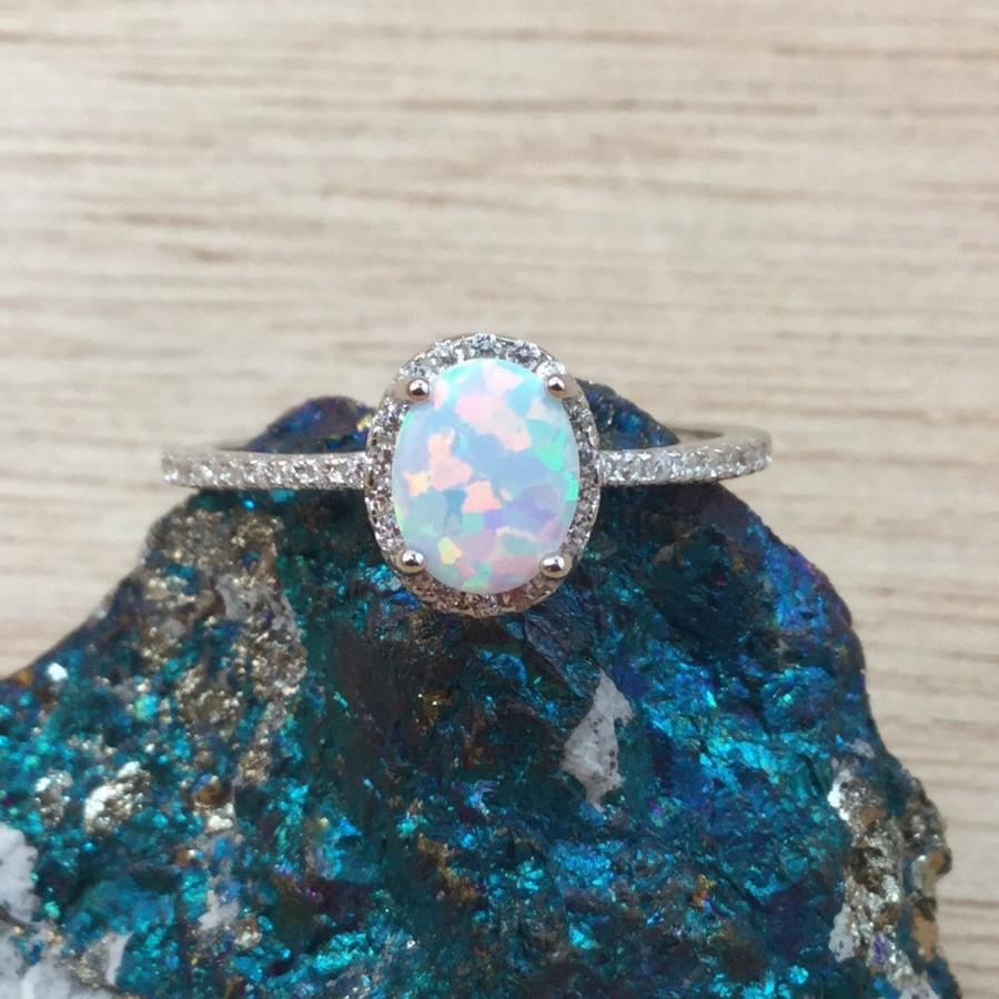 Mariage - Opal Ring Sterling Silver Sizes 6, 7, 8, 9, and 10 Sterling Silver Opal Rings - Opal Promise Ring - October Birthstone Jewelry Gift for Wife