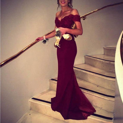 Mariage - Elegant Prom Dress -Burgundy Mermaid Off-the-Shoulder with Lace from Dressywomen