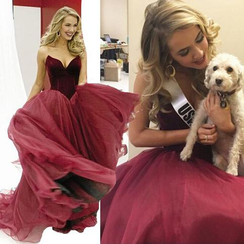 Mariage - Elegant Olivia Jordan Same Style Burgundy Ball Gown Tulle Prom Party Occasion Dress from Dressywomen