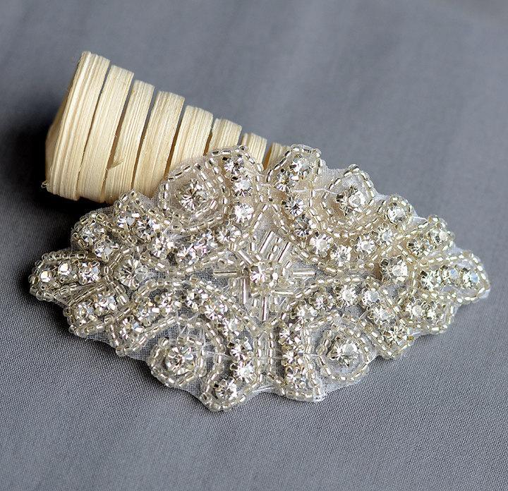 Mariage - Rhinestone Applique Bridal Accessories Crystal Trim Rhinestone Beaded Applique Wedding Dress Sash Belt Headband Jewelry RA003