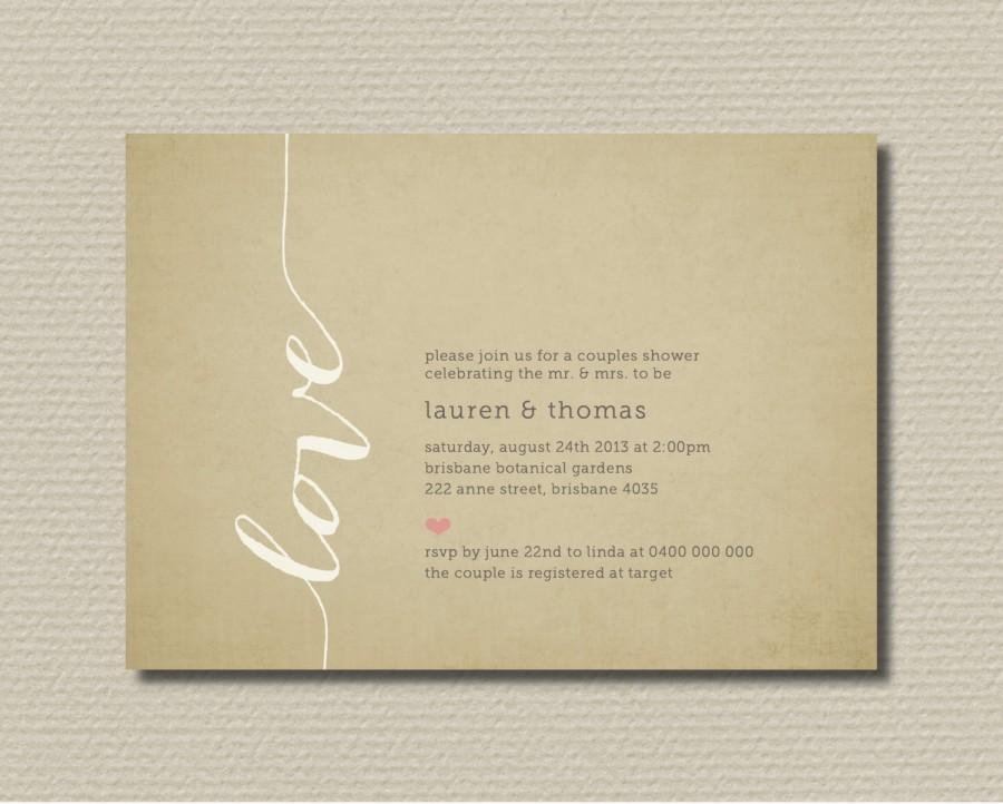 Mariage - Printable Couples Shower Invitation - Love (BR122)