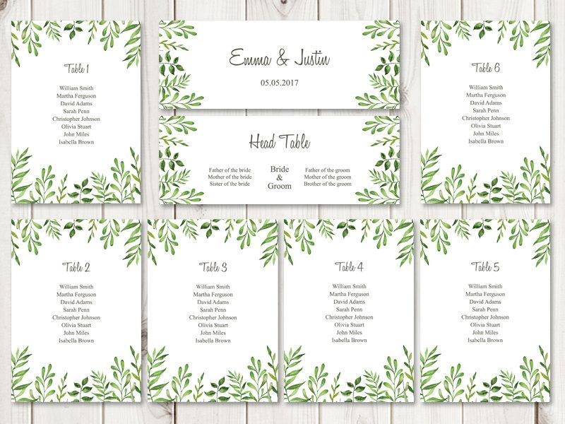 Watercolor Wedding Seating Chart Template Lovely Leaves Green – Seating Chart Template Word