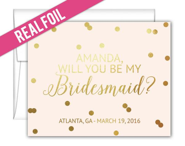 Свадьба - Will You Be My Bridesmaid Cards Foil Confetti Design - Maid of Honor Cards - Matron of Honor Cards - Junior Bridesmaid Cards