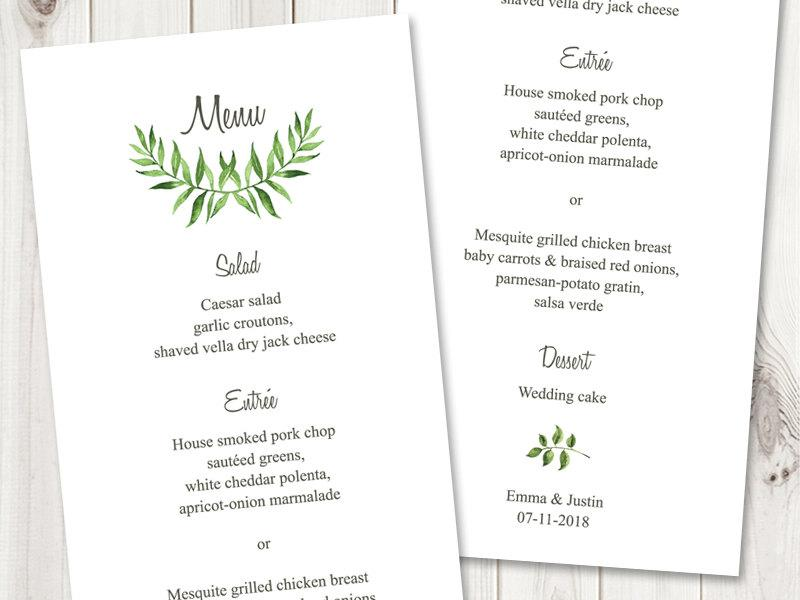 "Свадьба - Watercolor Wedding Menu Template ""Lovely Leaves"", Green. DIY Wedding Menu Printable Template, Tea Length. Edtable Text, Instant Download."