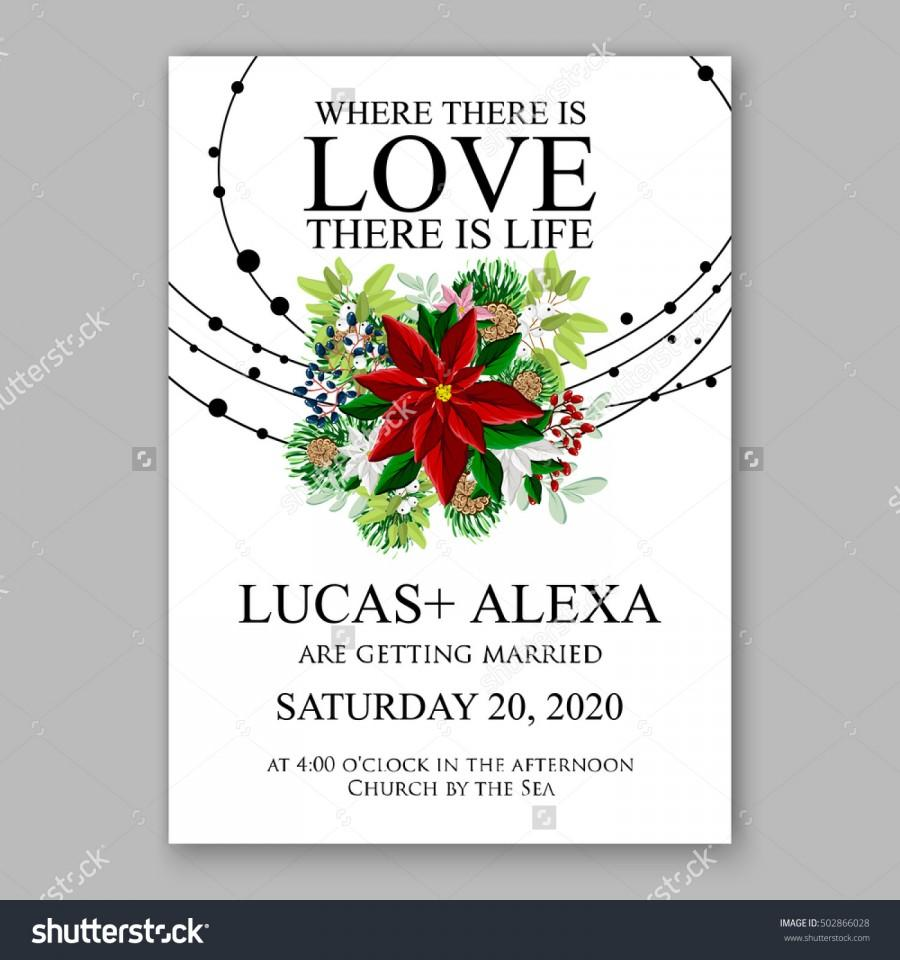 Wedding invitation card template with winter bridal bouquet wreath wedding invitation card template with winter bridal bouquet wreath flower poinsettia pronofoot35fo Images