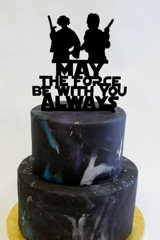 Hochzeit - Starwars InspiredMay The Force Be With You Cake Topper  - newlyweds, wedding decor, mr and mrs, the force awakens, starwars theme
