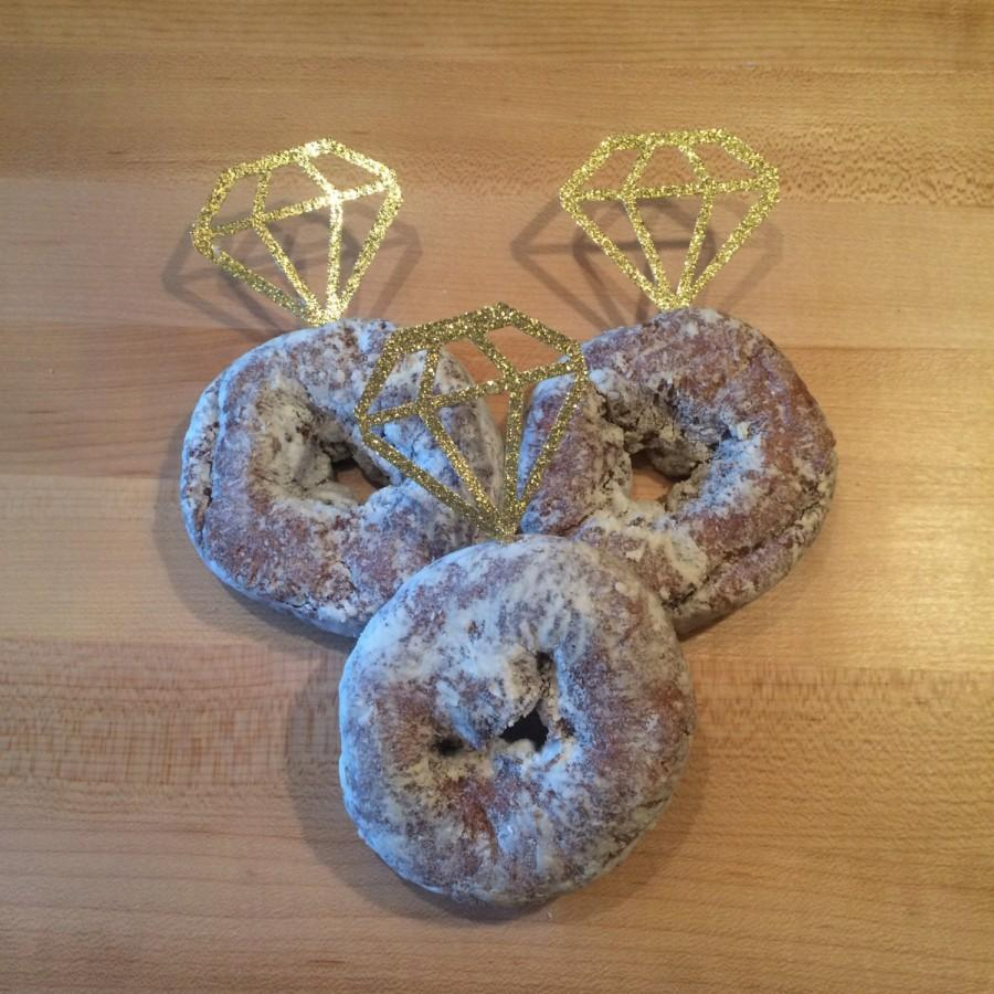 Mariage - 12 Diamond Donut Toppers// Set of 12// cupcake toppers // bridal brunch
