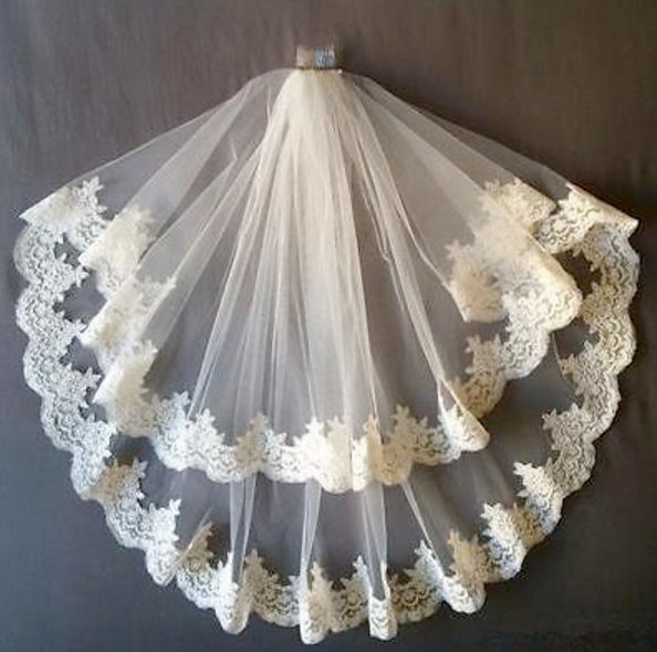Mariage - White Bridal Wedding Veil With Comb Lace Applique Edge 2 Tiers