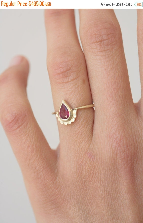 Pear Shaped Engagement Ring. 14k Gold Ring Set With A Pear Shape Ruby. Wedding  Ring. Yellow Gold. Alternative Engagement Ring. Handmade